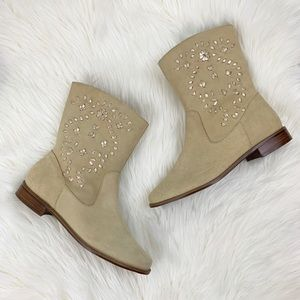 Jack Rogers Kaitlin Stitched Suede Boots in Sand